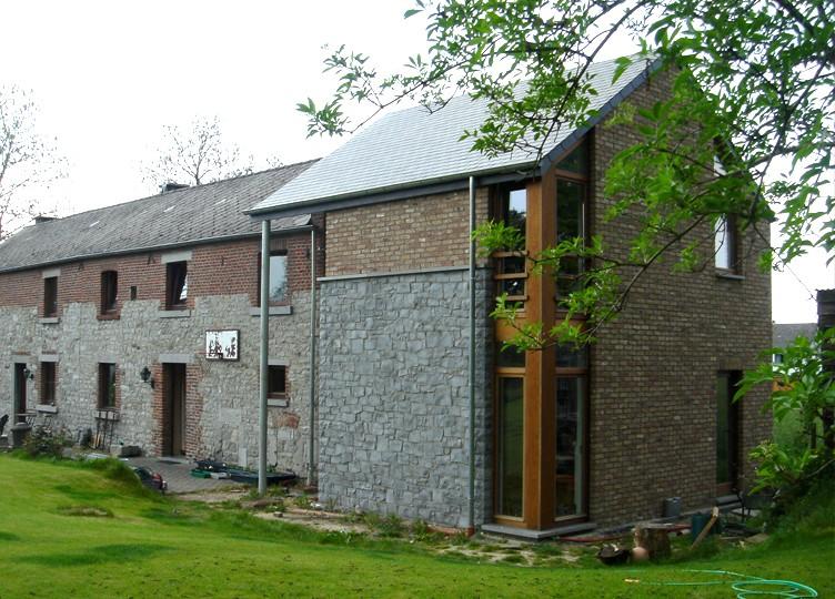 Pierre, bois, brique, intégration, rural