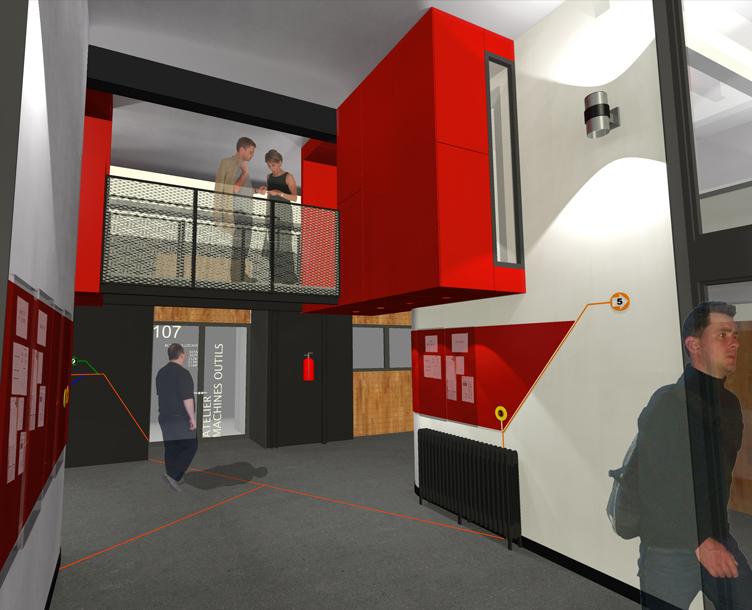 Porte-à-faux, béton lissé, design, aménagement intérieur, étude d'éclairage